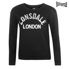 Lonsdale London Pullover Pulli Sweatshirt Damen Schwarz Grau M
