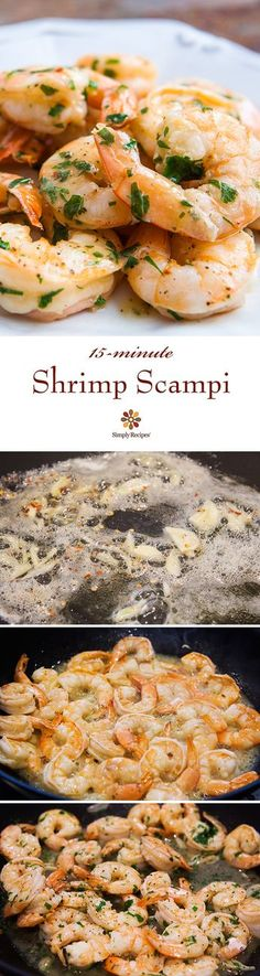 Shrimp Scampi ~ Quick and easy shrimp scampi, shrimp sautéed with garlic in butter, olive oil, and white wine, tossed with red pepper flakes and parsley. Takes only 15 minutes! On SimplyRecipes.com