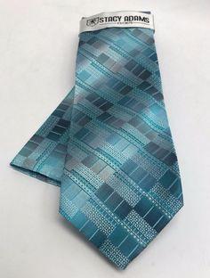 Stacy Adams Tie & Hanky Set Turquoise Aqua & Silver  Men's Microfiber #StacyAdams #Set