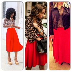 Black Leather Jacket-Nordstrom's Rack Animal Print Blouse-Goodwill Red Pleated Skirt-Goodwill Black Flats-Target