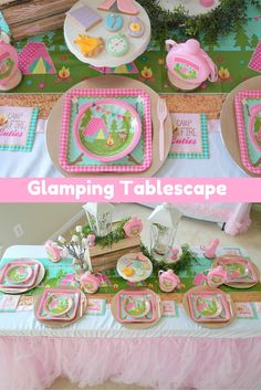 We love the way @sweetlychicdes set up their tablescape!  These themed supplies make a perfectly chic table for our glamping party! Oriental Trading Company has you covered with our Camp Glam Dinner Plates, Camp Glam Dessert Plates, coordinating Camp Glam Canteens, Camp Glam Beverage Napkins, and Light Pink Forks!