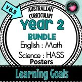 Year 2 LEARNING GOALS Bundle ENGLISH, MATHS, SCIENCE, HASS