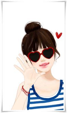Girl Cartoon, Cartoon Art, Cute Cartoon Images, Cute Love Gif, Cute Girl Wallpaper, Digital Art Girl, Girls With Glasses, Cute Anime Guys, Girls In Love