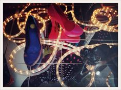 #lafemmemimi #fashion #designer #womensfashion #prague #window #shoes #heels #blue #pink #lights #mirror