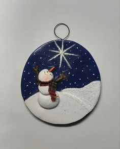 hand sculpted polymer clay Starlight snowman tree ornament by JessiesCornerClay on Etsy Polymer Clay Christmas, Painted Christmas Ornaments, Christmas Art, Polymer Clay Ornaments, Felt Ornaments, Nutcracker Ornaments, Rock Crafts, Clay Crafts, Snowman Crafts