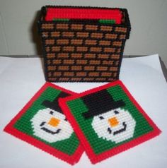 Plastic Canvas Patterns   instant download of this pattern snowman coaster set pattern 504