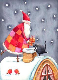 Santa and Chimney by Wendy Darker
