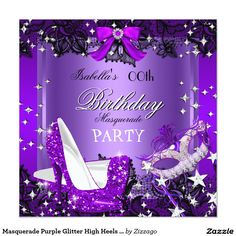 Masquerade Purple Glitter High Heels Party