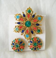 Mode ART multicolor pin brooch and clip earrings set starburst   TheLivesAndLovesOfMaggieTheCat - Jewelry on ArtFire