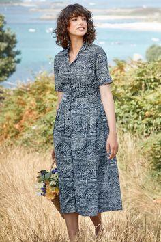 Charlotte Dress, Midi Length Cotton Shirtdress - Seasalt Cornwall