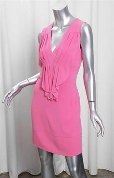 PRADA Womens Pink Sleeveless Pleated V-Neck Above Knee Sheath Dress 42/6