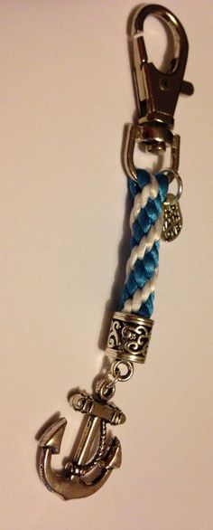 Fresh blue and white kumihimo key ring with a lovely anchor charm