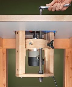 A Shop-Made Router Lift from Woodsmith Plans Woodworking Tools For Sale, Router Woodworking, Woodworking Furniture, Woodworking Projects, Furniture Plans, Popular Woodworking, Kids Furniture, Woodworking Jigsaw, System Furniture