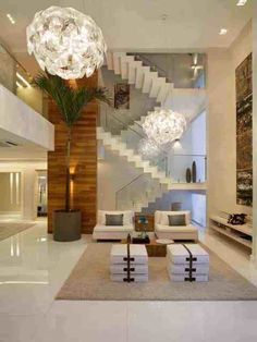 Models of chandeliers: 60 ideas to get right in the lighting - Decoration, Architecture, Construction, Furniture and decoration, Home Deco Modern House Design, Modern Interior Design, Home Design, Staircase Design, Open Staircase, My Dream Home, Living Room Designs, Living Rooms, Interior Architecture