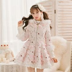 [Sweet Candy Fashion Line] Pink Sweet Cotton Fur Hooded Coat HFSC008