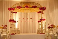 Indian Wedding Decor Company, Occasions by Shangri-La, provides indian wedding mandaps with full service event decor & floral for South Asian weddings. Wedding Hall Decorations, Marriage Decoration, Engagement Decorations, Wedding Themes, Wedding Ideas, Decor Wedding, Wedding Table, Wedding Cakes, Red Wedding Flowers
