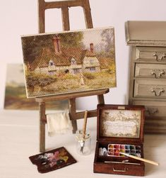 Items similar to Dolls House Miniature Artist's Paint Box Set in scale on Etsy Diy Doll Miniatures, Art Easel, Paint Tubes, Miniature Crafts, Miniature Rooms, Miniature Houses, Painted Boxes, Dollhouse Accessories, Mini Things