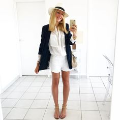 "2,680 Likes, 44 Comments - C h a r l e n e (@thebabooshka) on Instagram: ""B l a z e r  S h o r t #outfit #outfitoftheday • Blazer #zara • Chemise #zara • Short #zaa •…"""