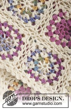 Crochet DROPS blanket with squares