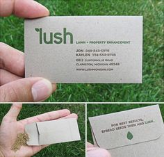Sowing the seeds of success: grass card. | 21 Ingenious Business Card Designs