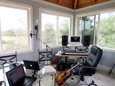 Home recording studio with a view and plenty of light.