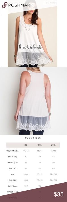 Plus Size Lace Extender The most popular trend of the year...lace extenders to pair with tops, tunics, sweater or dresses. Color cream, made of 65% cotton and 35% polyester. Sizes XL, XXL, XXXL Threads & Trends Tops