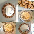 Odun Parçalarından Ayna Süsleme Dekoratif Ayna Yapımı