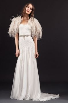 10f6a4de7169 Temperley London Wedding Dress With Feathers, Temperley Wedding Dresses,  Chic Wedding Dresses, Spring