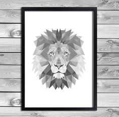 Printable Art Poster Print - Black White Grey Lion Illustration Geometric Animals Kids Room Interior Decoration Digital Download