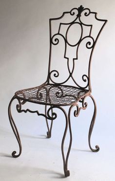 Jean-Charles Moreux painted Wrought Iron Chairs SET OF 6