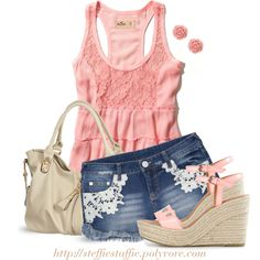 """""""Pink ruffled top & Denim with Lace details"""" by steffiestaffie on Polyvore"""