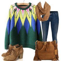 Green Long Sleeve Sunflower Pattern Loose Sweater