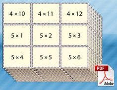 On this page you'll find a collection of free printable multiplication flash cards for kids. The flash cards cover time tables 1 - Multiplication Flash Cards Printable, Multiplication Activities, Math Worksheets, Math Activities, Math Fractions, Printable Cards, Division Flash Cards, Math Flash Cards, Addition Flashcards