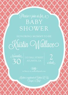 Coral & Teal Bridal or Baby Shower Invitation