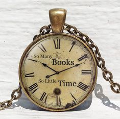 So Many Books, So Little Time pendant, Book lover necklace, Book jewelry, Book quote necklace, book keychain key chain key fob