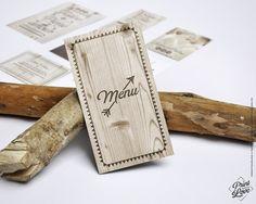 Menu imprimé bois clair pour une table rustique. #menu #cartemenu #mariage #wedding #bois #effetbois #imprimébois