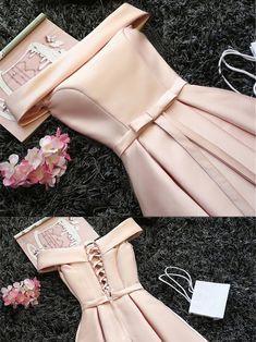 Cute  Pink Off Shoulder Graduation Dress, Short Graduation Dresses, Pink Hoco Dresses, Dama Dresses, Party Dresses, Occasion Dresses, Homecoming Dresses, Sexy Dresses, Evening Dresses, Fashion Dresses, Formal Dresses