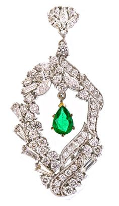 Diamond Pendant with an Emerald drop