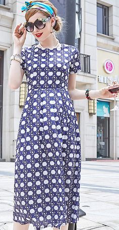 Casual O-Neck Short Sleeve Floral Print A-Line Dress