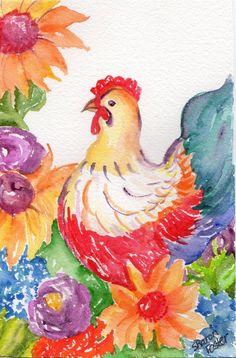 Original Hen watercolor painting  Chicken Art by SharonFosterArt, $25.00