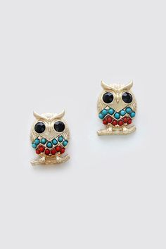 Owl Earrings Dotted in Chevron.  These would be great for Emma.