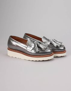 These ladies' Clara Loafers have eye catching metallic silver uppers and lightweight chunky white soles. Summer Essentials, Sperrys, Boat Shoes, Calves, Footwear, Loafers, Lady, Dressing, Clothes