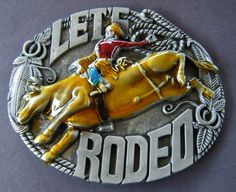 LETS RODEO WESTERN LASSO COWBOY COWGIRL BULL RIDER BIG BELT BUCKLE BELTS BUCKLES