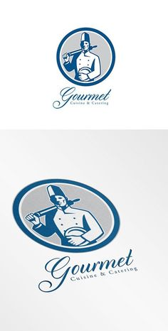 Gourmet Cuisine and Catering Logo Re by patrimonio on @creativemarket