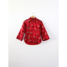 vintage Chinese jacket, red satin brocade shirt coat, cheongsam jacket ($260) ❤ liked on Polyvore featuring outerwear, jackets, floral print jacket, padded jacket, red satin jacket, white jacket and flower print jacket