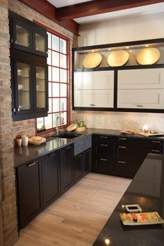 Sonoma Maple, Midnight, and Bristol Maple, Pebble Wellborn Cabinet Cabinet Companies, Black Kitchen Cabinets, Black Kitchens, Wellborn Cabinets, Contemporary Design, Contemporary Kitchens, Brick Pavers, What's Your Style, Cooking