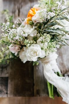Wedding bouquet, wildflowers, white and orange florals, white ribbons // Emily Wren Photography White Wedding Bouquets, Wedding Flowers, Spring Bouquet, Wedding Flower Inspiration, Bright Spring, White Ribbon, Wren, Spring Wedding, Wild Flowers