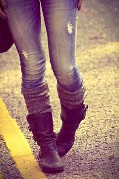 one of my fav looks: leather boots with leg warmers and ripped denim
