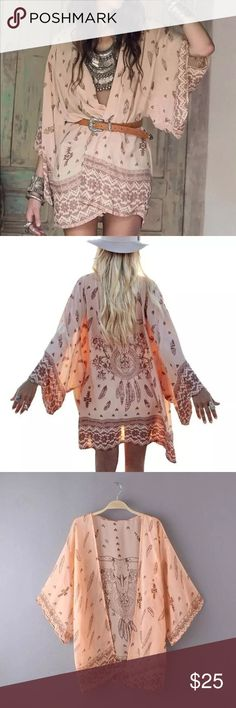 Boho Printed Chiffon Loose Shawl Kimono Pre-order this Pink Kimono Clothing Length	Long Sleeve Style	Regular Pattern Type	Print Style	Kimono Brand Name	Womail Fabric Type	Chiffon Collar	Bow Sleeve Length(cm)	Full.    Available in OS Tops