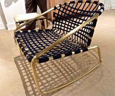 "Richard Frinier, ""Kantan"" for Brown Jordan :: Award winning outdoor furniture designer Richard Frinier's reworking of Tadao Inouye's original Kantan chair, now shown with navy straps and unlacquered brass."
